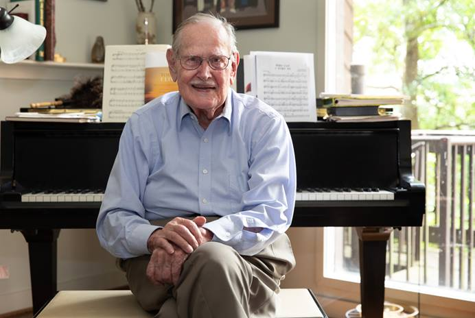 """The Rev. Carlton R. """"Sam"""" Young is, at 94, still composing and arranging music. Editor of The Methodist Hymnal (1966) and The United Methodist Hymnal (1989), he's out with a new collection of sheet music called """"Today I Live: Hymns and Songs of Remembrance and Hope."""" Photo by Mike DuBose, UM News."""